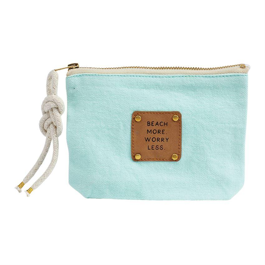 """Beach More. Worry Less"" LEATHER PATCH POUCH - Molly's! A Chic and Unique Boutique"
