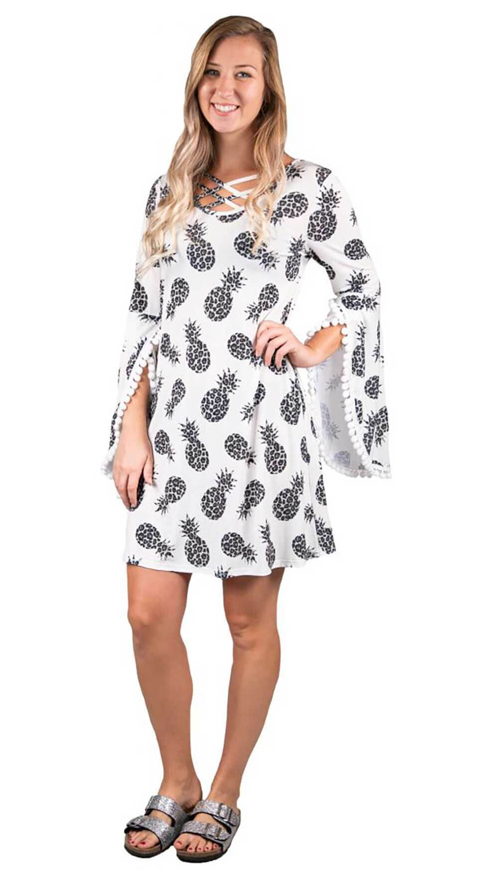 BELL SLEEVE DRESS-CHEETAH PINEAPPLE PRINT - Molly's! A Chic and Unique Boutique