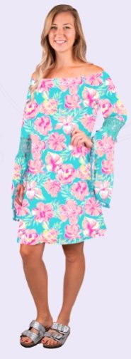 BELL SLEEVE DRESS-HIBISCUS PRINT - Molly's! A Chic and Unique Boutique