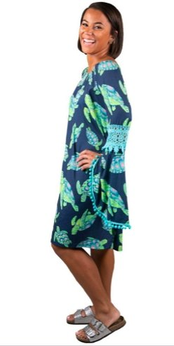 BELL SLEEVE DRESS-TURTLE PRINT (size M only) - Molly's! A Chic and Unique Boutique