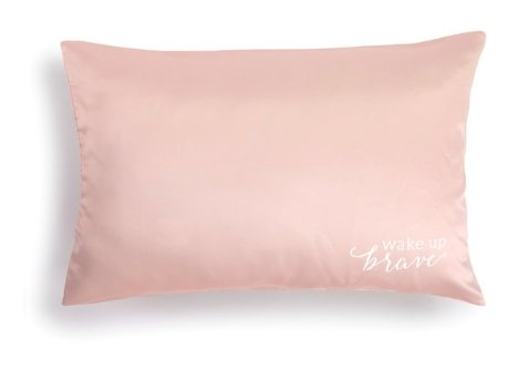 BLUSH SATIN PILLOW CASE- WAKE UP BRAVE - Molly's! A Chic and Unique Boutique