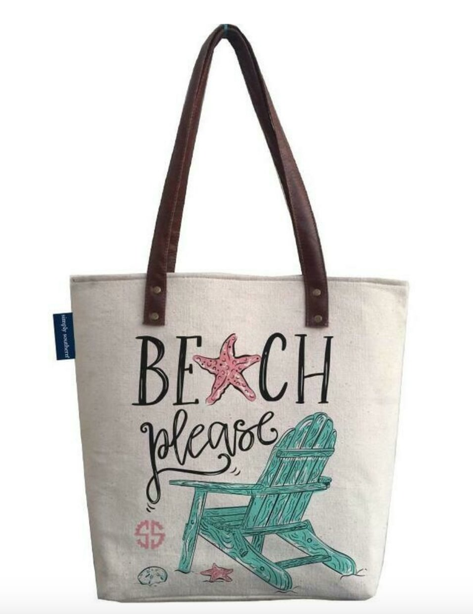 CANVAS TOTE BAG: BEACH PLEASE - Molly's! A Chic and Unique Boutique
