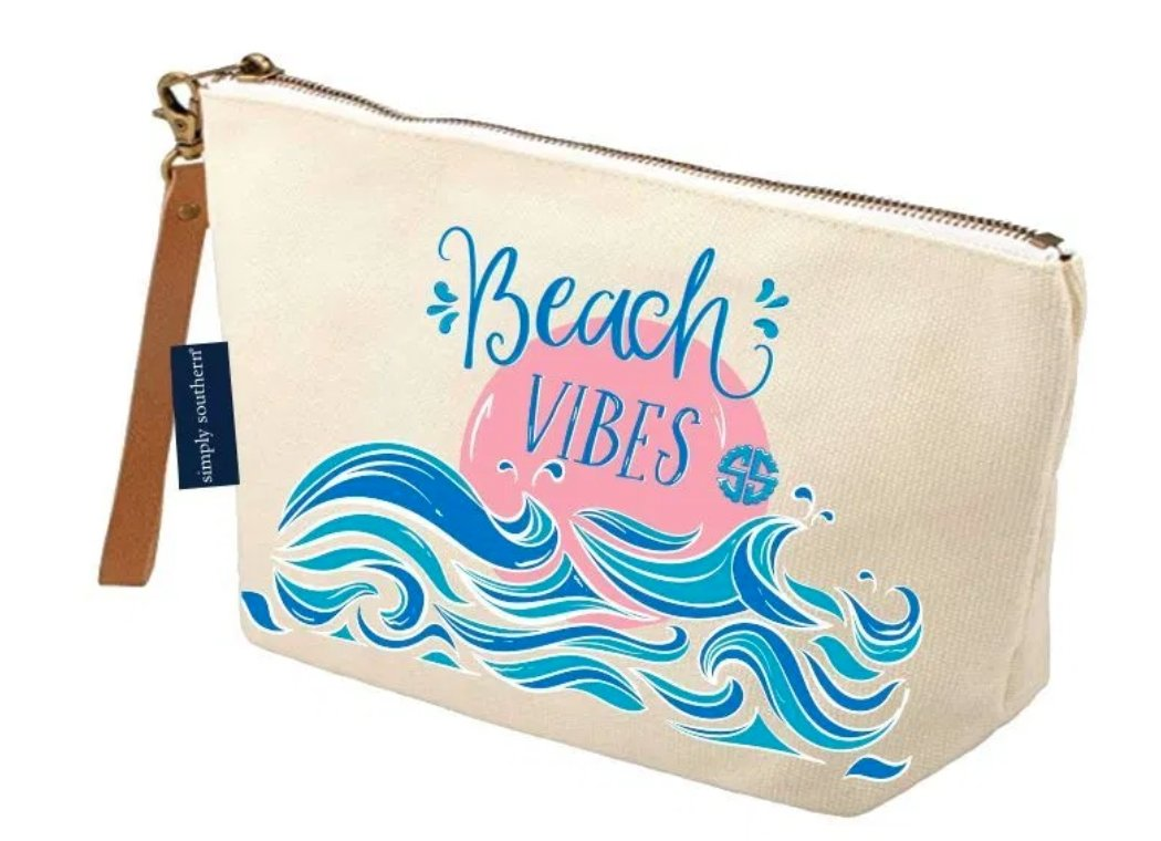CANVAS ZIP BAG: BEACH VIBES - Molly's! A Chic and Unique Boutique