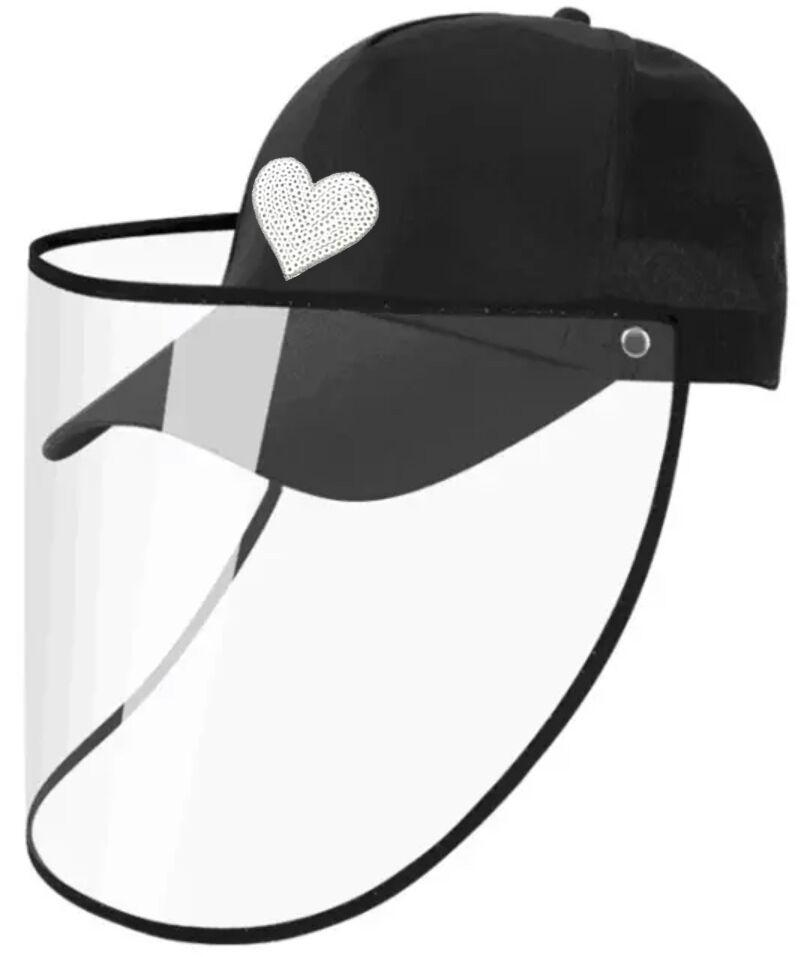 CAP WITH FACE SHIELD - BLACK W/SILVER HEART- SSH  (Pre-order) approx. 5/30 - Molly's! A Chic and Unique Boutique