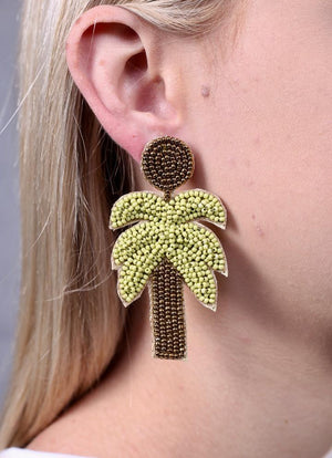 Carstic Green Beaded Palm Tree Earring - Molly's! A Chic and Unique Boutique