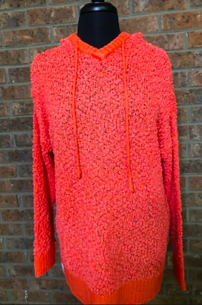 CORAL POPCORN HOODIE - Molly's! A Chic and Unique Boutique