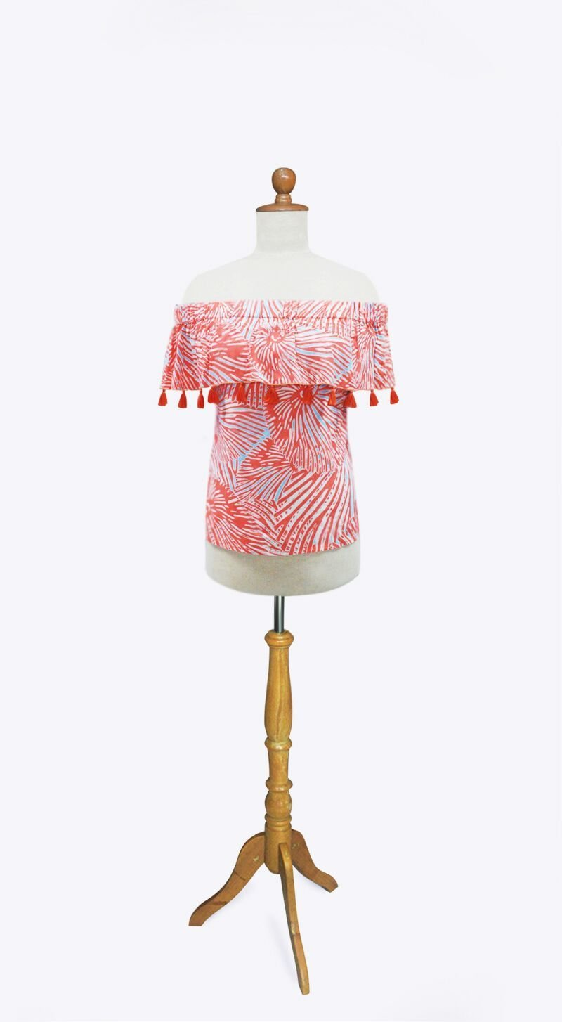 CORAL SHELL-TASSELED MONICA TOP - Molly's! A Chic and Unique Boutique
