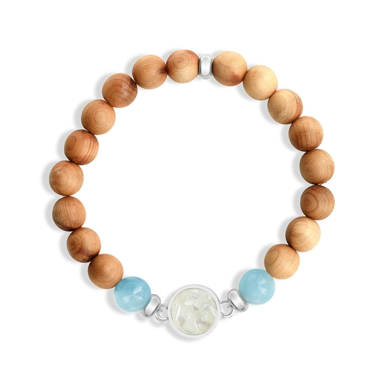 Cypress Wood Beaded Bracelet- Siesta Key Sand & Aquamarine - Molly's! A Chic and Unique Boutique