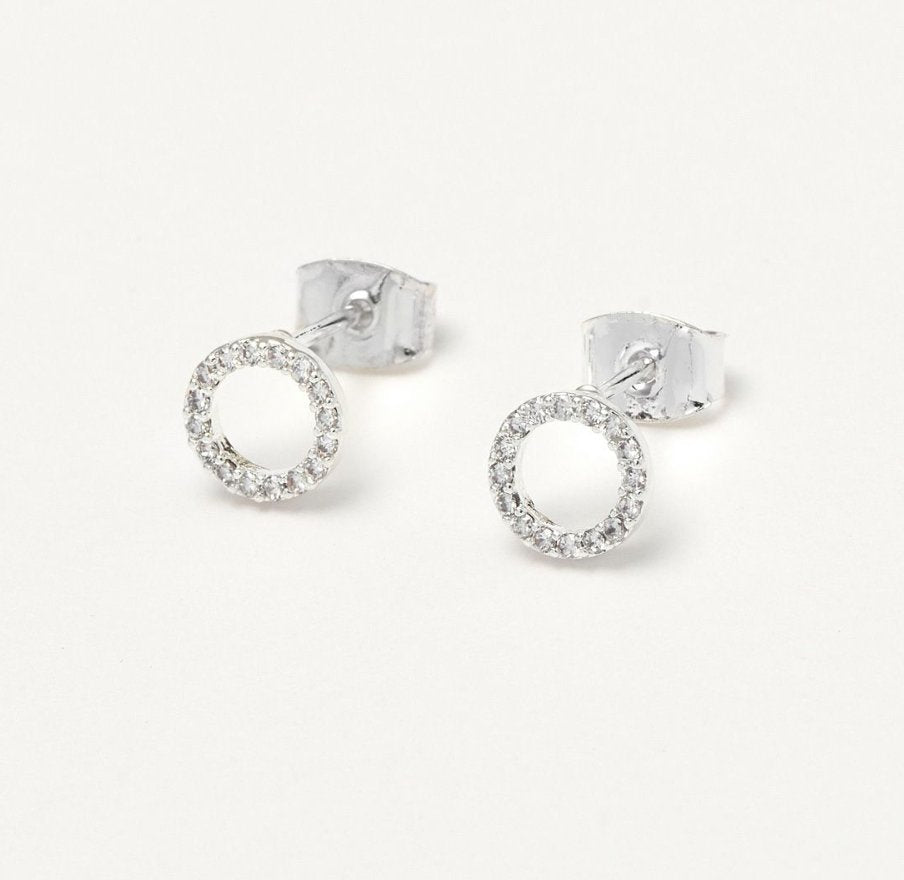 CZ CIRCLE EARRINGS - SILVER PLATED EB3120 - Molly's! A Chic and Unique Boutique