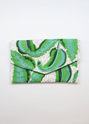 Devereaux Thread Embellished Clutch/Crossbody Green P17214 - Molly's! A Chic and Unique Boutique
