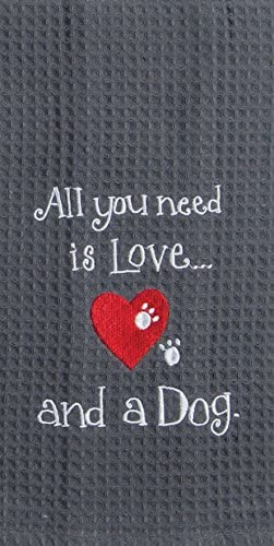 DOG LOVE EMBROIDERED WAFFLE TOWEL - Molly's! A Chic and Unique Boutique