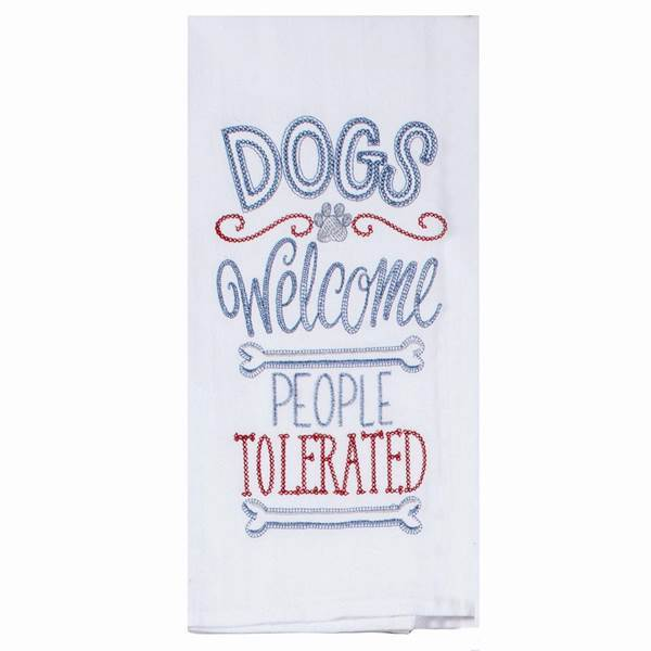 DOGS WELCOME EMBROIDERED FLOUR SACK TOWEL - Molly's! A Chic and Unique Boutique