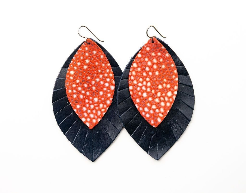 DOUBLE LEATHER FRINGE EARRING-CORAL SPECKLED W/NAVY  - Molly's! A Chic and Unique Boutique
