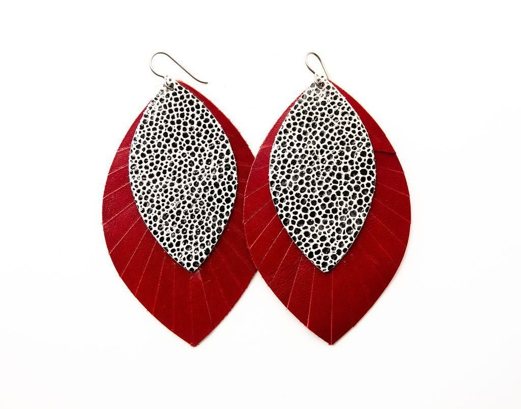 DOUBLE LEATHER FRINGE EARRINGS - BLACK & WHITE SPECKLED W/RED  - Molly's! A Chic and Unique Boutique