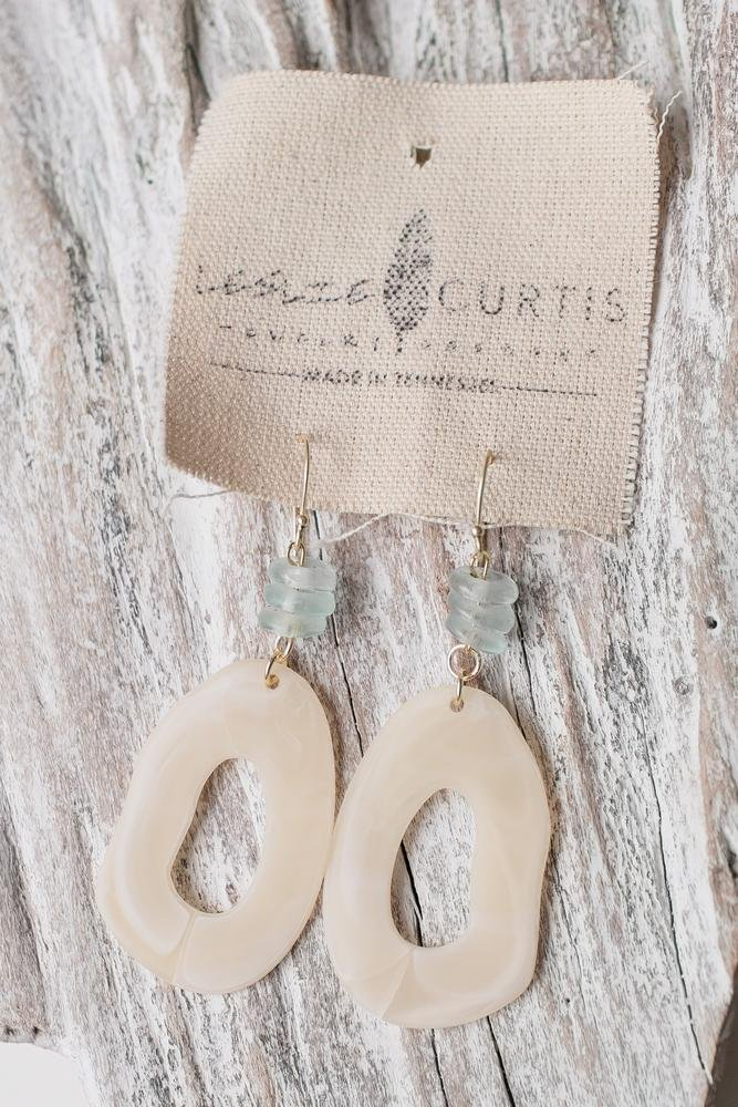ETTA - CREAM OVAL EARRINGS - Molly's! A Chic and Unique Boutique
