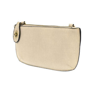 FAUX LINEN CROSSBODY WRISTLET CLUTCH- IVORY - Molly's! A Chic and Unique Boutique