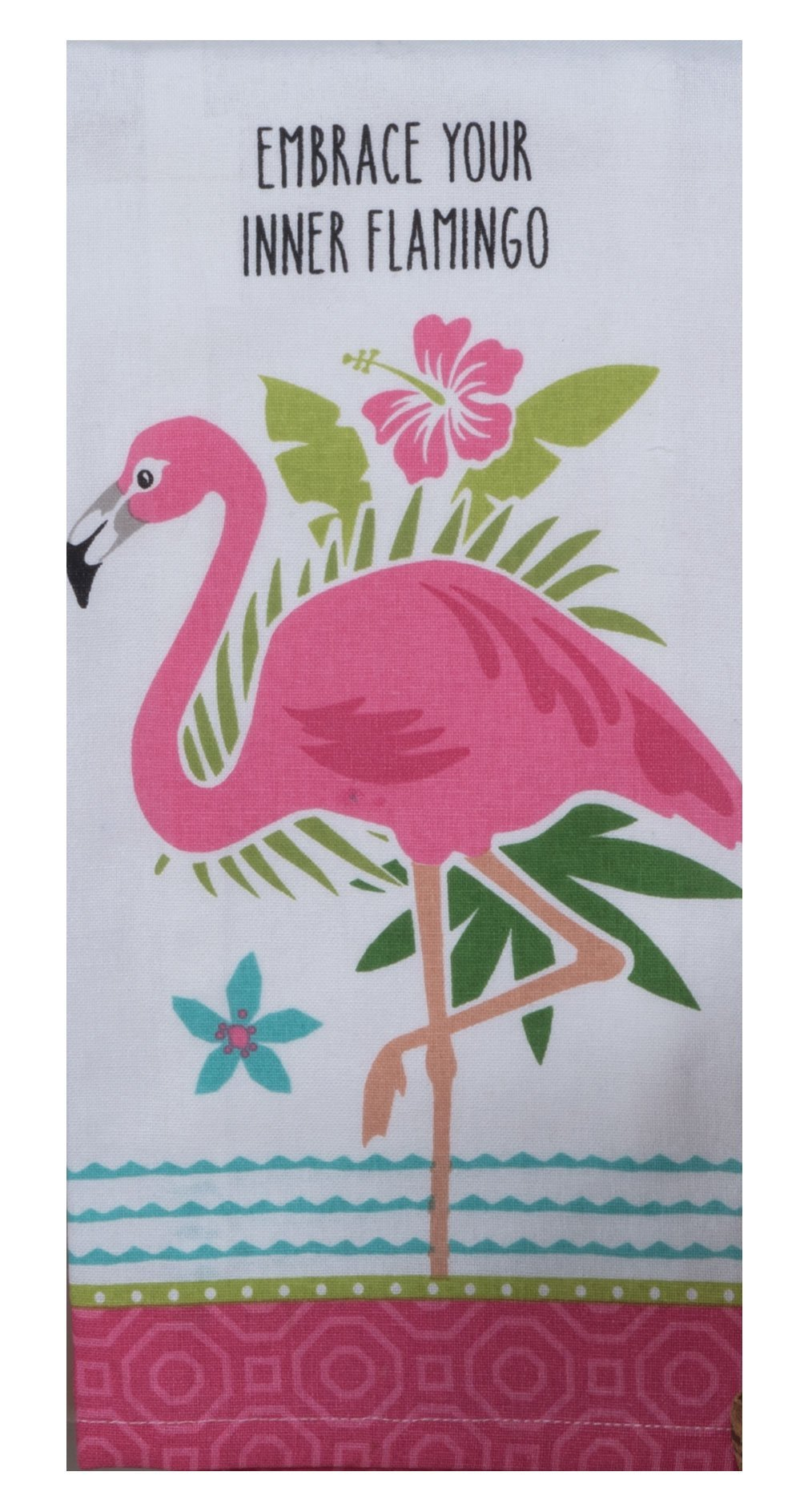 FLAMINGO EMBROIDERED TEA TOWEL - Molly's! A Chic and Unique Boutique