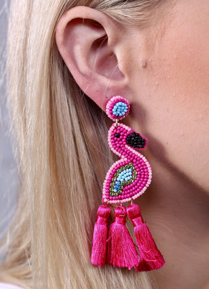 Frannie Flamingo Embellished Tassel Post Earring Hot Pink  E153752 - Molly's! A Chic and Unique Boutique
