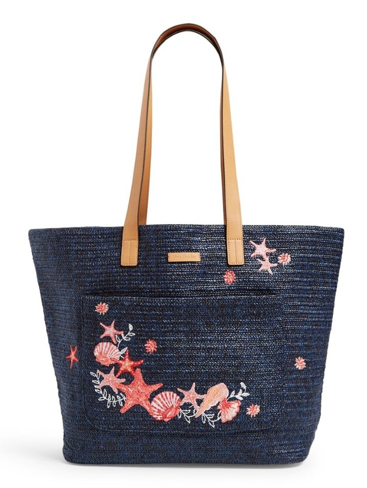 FRONT POCKET STRAW TOTE in NAVY SEA LIFE 26564R20 - Molly's! A Chic and Unique Boutique