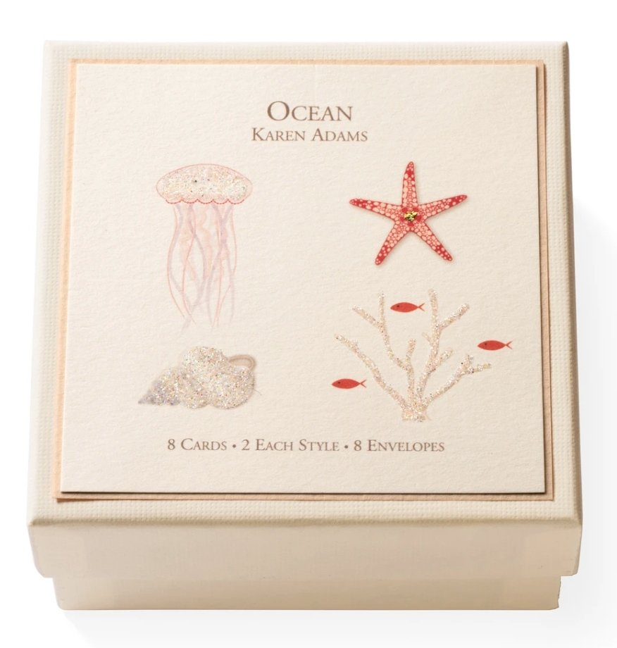 GIFT BOX CARDS OCEAN THEME: 8 CARDS - Molly's! A Chic and Unique Boutique