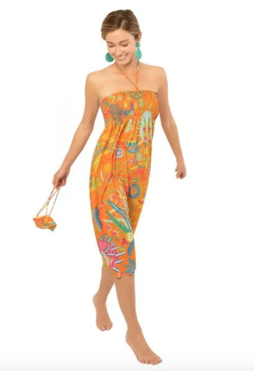Haight Ashbury Dress/Skirt - Hummingbird Heaven-Orange - Molly's! A Chic and Unique Boutique