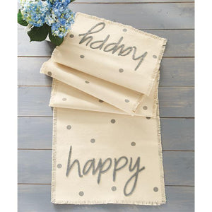 """Happy"" Polka Dot Table Runner - Molly's! A Chic and Unique Boutique"