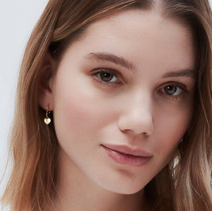 HEART DROP HOOP EARRINGS - GOLD PLATED EB1964 - Molly's! A Chic and Unique Boutique