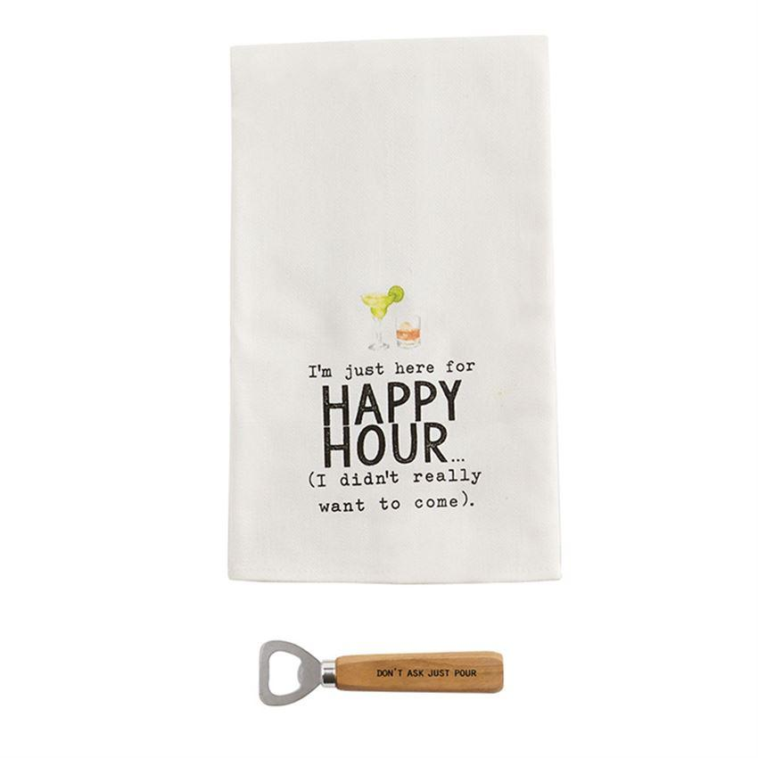 I'm Just Here Happy Hour Towel and Bottle Opener Set - Molly's! A Chic and Unique Boutique