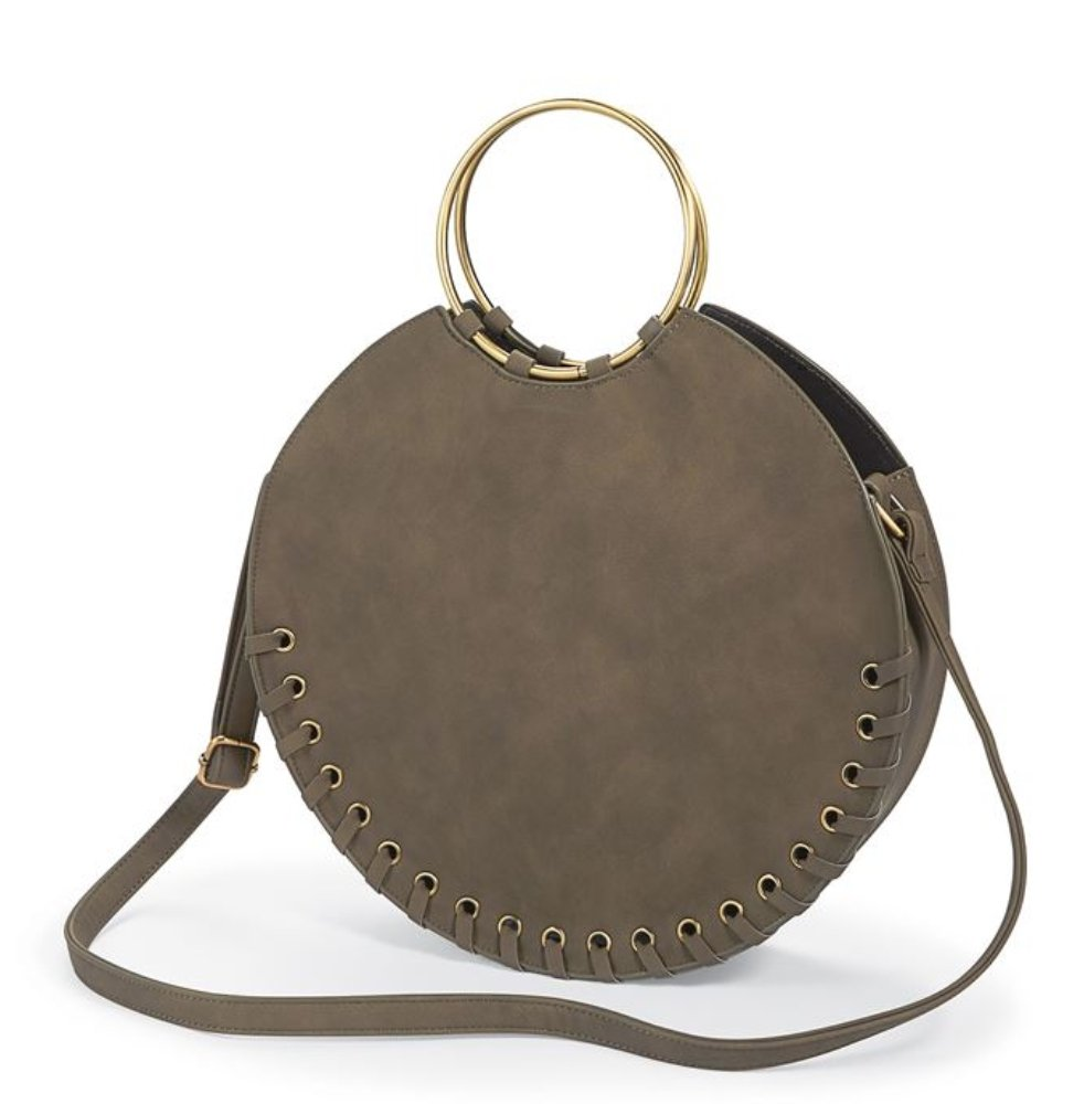 LARGE CIRCLE TOTE OLIVE - Molly's! A Chic and Unique Boutique