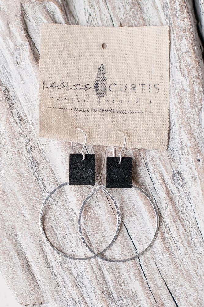 LAURA SAND - LEATHER HOOP EARRINGS - Molly's! A Chic and Unique Boutique