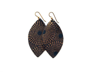 LEATHER EARRINGS - BLUE/BRONZE STARBURST (LARGE) - Molly's! A Chic and Unique Boutique