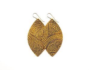 LEATHER EARRINGS - BUTTERSCOTCH/BRONZE (LARGE) - Molly's! A Chic and Unique Boutique