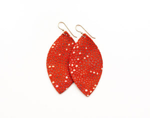LEATHER EARRINGS - CORAL SPECKLED (LARGE) - Molly's! A Chic and Unique Boutique