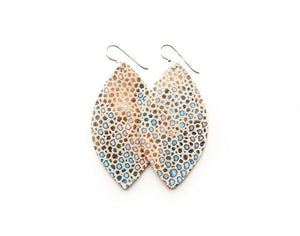 LEATHER EARRINGS - CREAM & BLUE SPECKLED (SMALL) - Molly's! A Chic and Unique Boutique