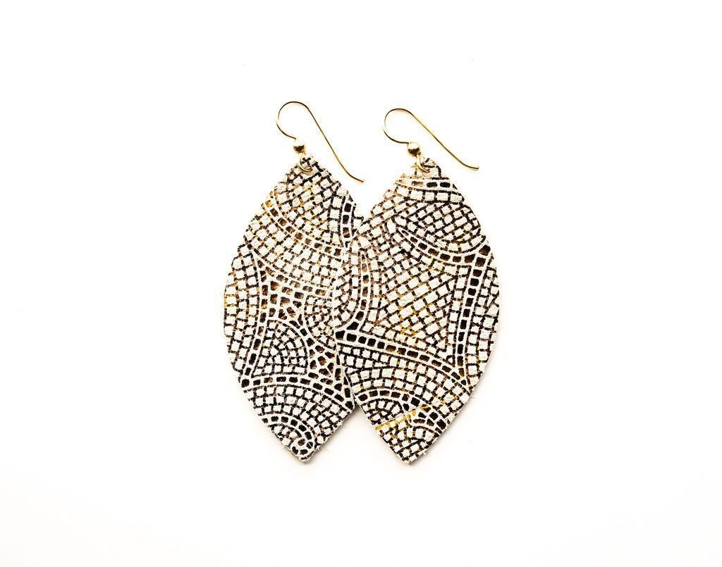 LEATHER EARRINGS - CREAM/BRONZE MOSAIC (LARGE) - Molly's! A Chic and Unique Boutique
