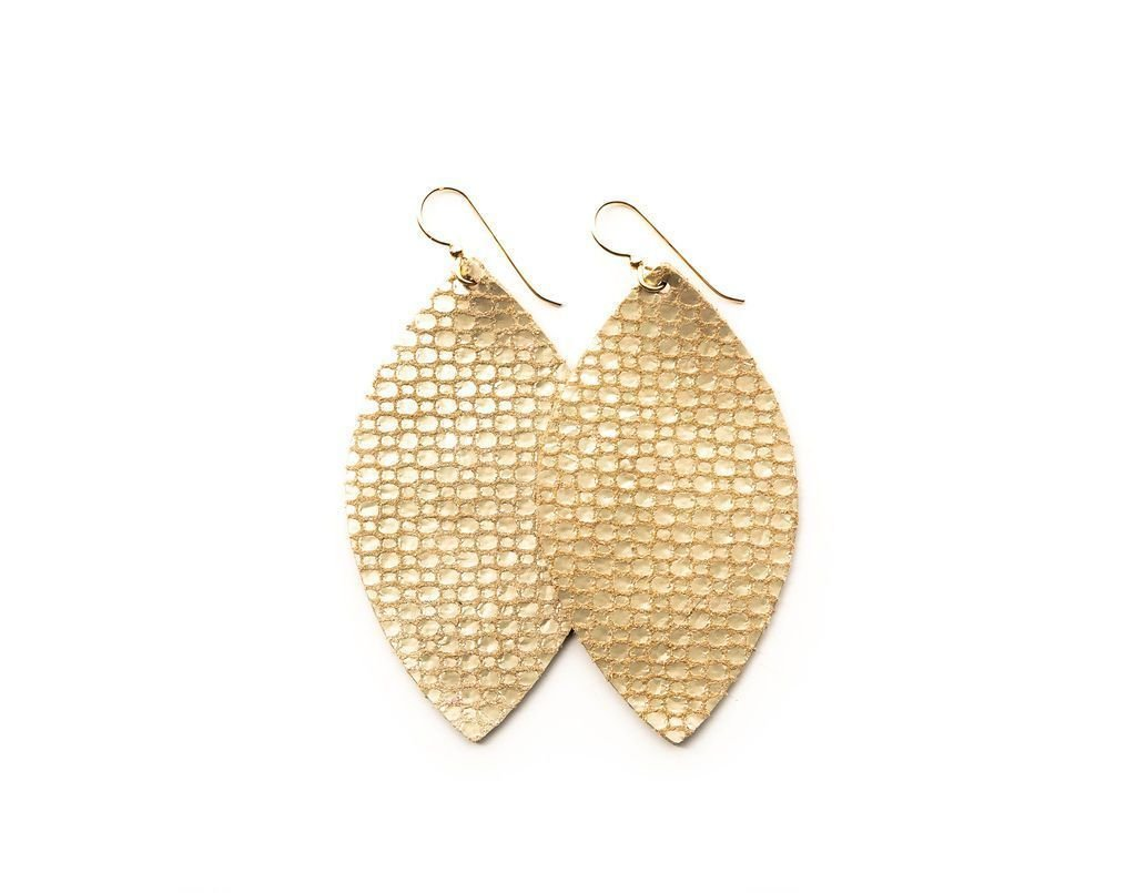 LEATHER EARRINGS - GOLD COBBLESTONE (LARGE) - Molly's! A Chic and Unique Boutique
