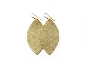 LEATHER EARRINGS - GOLD SHIMMER (SMALL) - Molly's! A Chic and Unique Boutique