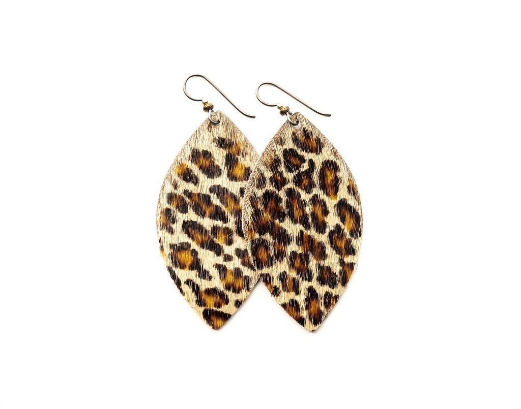 LEATHER EARRINGS - LEOPARD (LARGE) - Molly's! A Chic and Unique Boutique