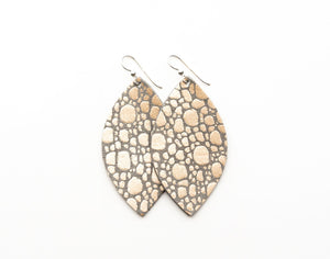 LEATHER EARRINGS - PEBBLES IN PLATINUM (LARGE) - Molly's! A Chic and Unique Boutique