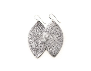 LEATHER EARRINGS -SILVER SHIMMER (LARGE) - Molly's! A Chic and Unique Boutique