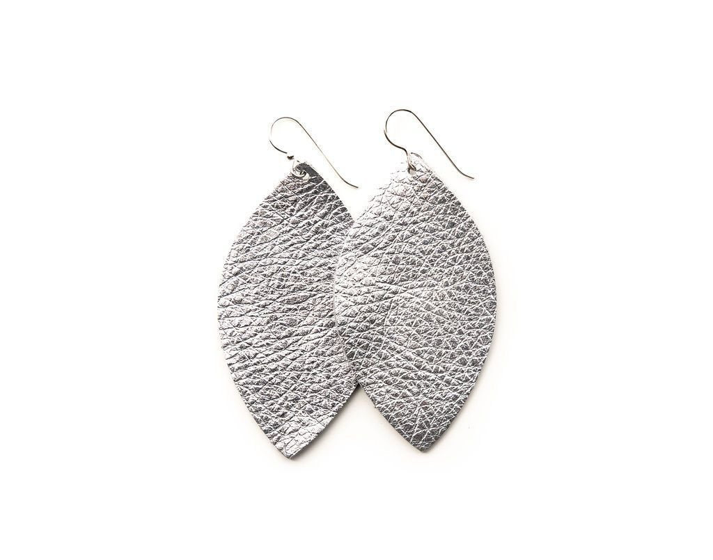 LEATHER EARRINGS - SILVER SHIMMER (SMALL) - Molly's! A Chic and Unique Boutique