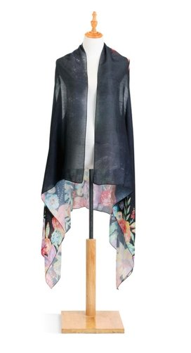 LORI SIEBERT SCARF VEST- FLORAL ON BLACK - Molly's! A Chic and Unique Boutique