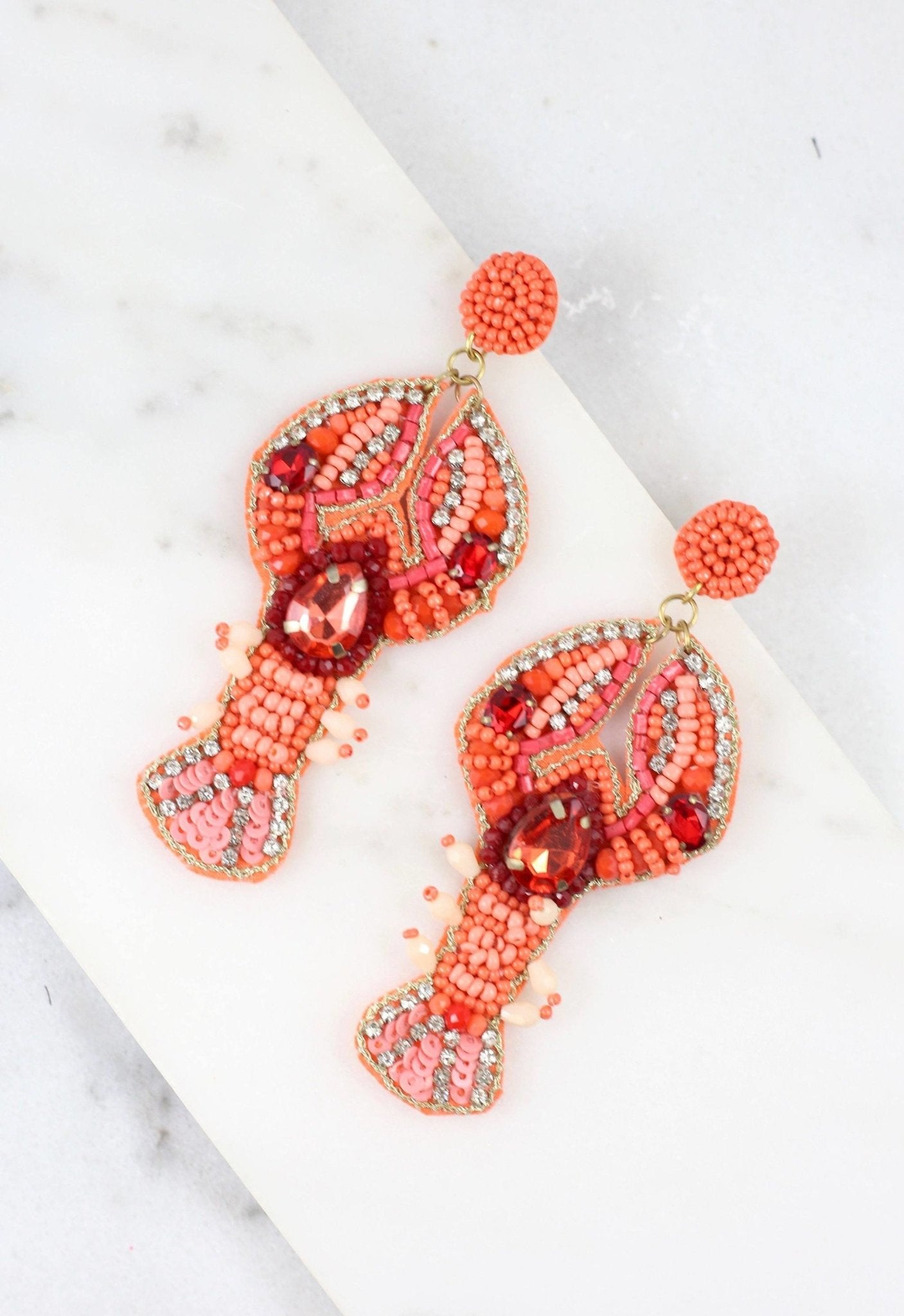 Maine Beaded Lobster Post Earring Coral E18288 - Molly's! A Chic and Unique Boutique
