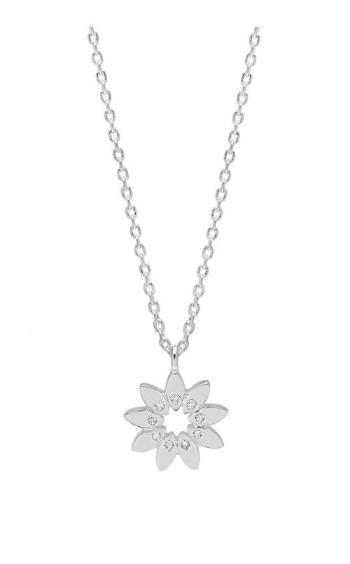 MODERN FLORAL NECKLACE WITH CZ - SILVER PLATED EB3433C - Molly's! A Chic and Unique Boutique