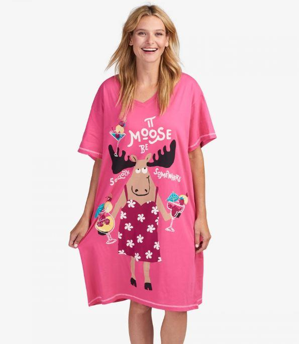 MOOSE BE O'CLOCK SOMEWHERE WOMEN'S SLEEP SHIRT - Molly's! A Chic and Unique Boutique