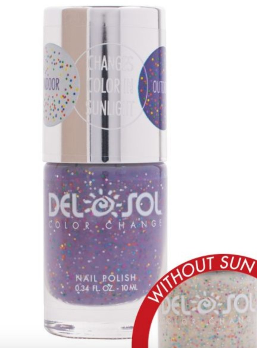 NAIL POLISH CHANGES FROM SILVER GLITTER TO PURPLE GLITTER WITH THE SUN! - Molly's! A Chic and Unique Boutique