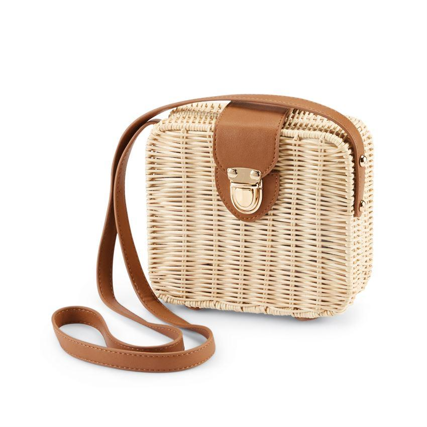 Natural Rattan Square Crossbody Bag - Molly's! A Chic and Unique Boutique