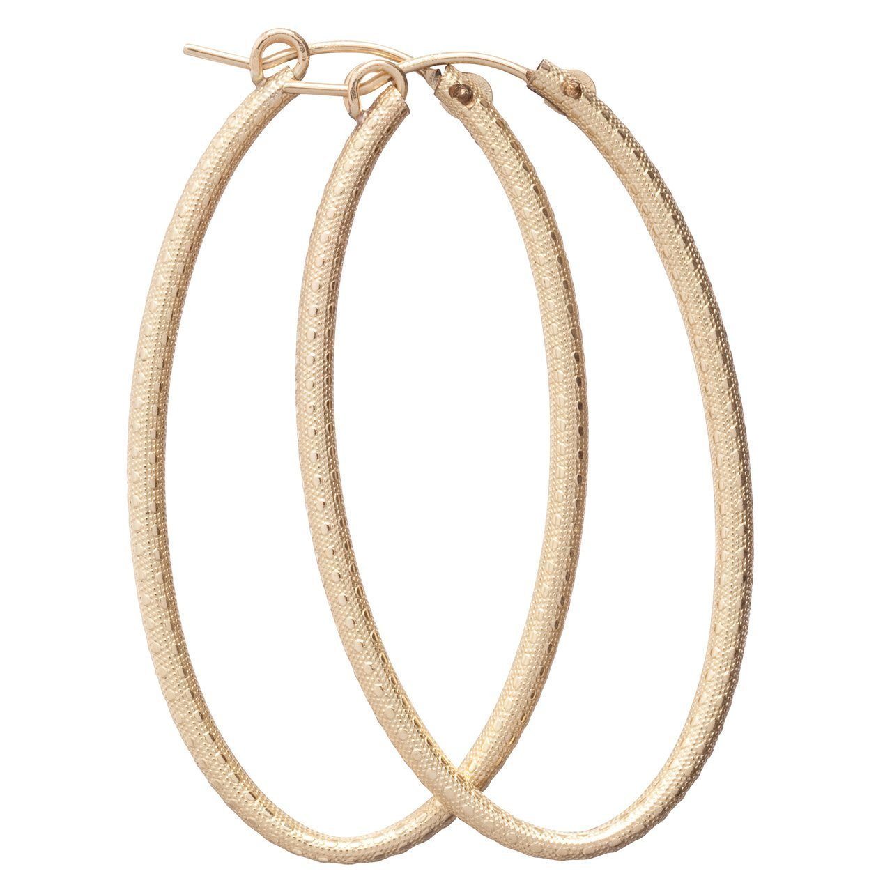 "OVAL GOLD 2"" HOOP- TEXTURED - Molly's! A Chic and Unique Boutique"