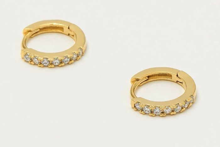 PAVE SET HOOP EARRINGS WITH WHITE CZ - GOLD PLATED EB1957 - Molly's! A Chic and Unique Boutique