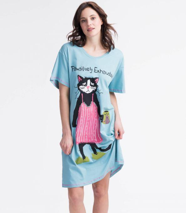 PAWSITIVELY EXHAUSTED WOMEN'S SLEEPSHIRT - Molly's! A Chic and Unique Boutique